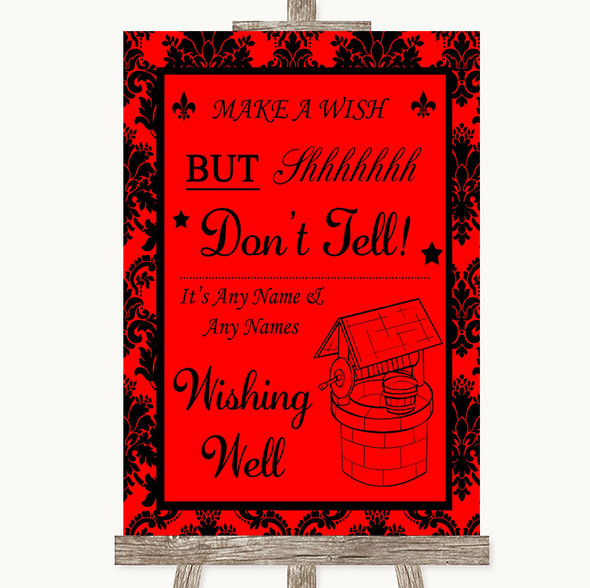 Red Damask Wishing Well Message Personalised Wedding Sign