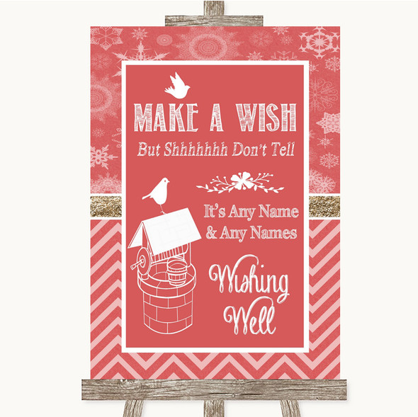 Red Winter Wishing Well Message Personalised Wedding Sign