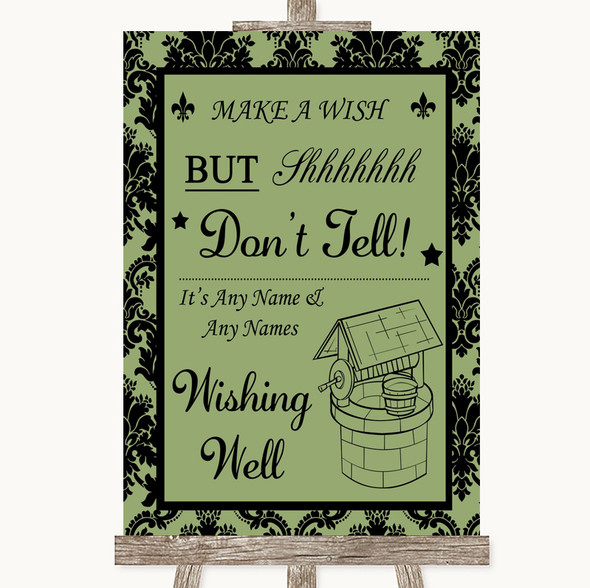 Sage Green Damask Wishing Well Message Personalised Wedding Sign