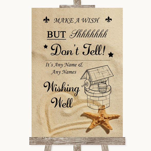 Sandy Beach Wishing Well Message Personalised Wedding Sign