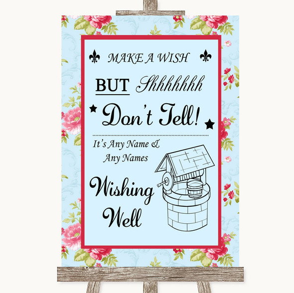 Shabby Chic Floral Wishing Well Message Personalised Wedding Sign