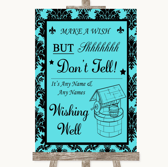 Tiffany Blue Damask Wishing Well Message Personalised Wedding Sign