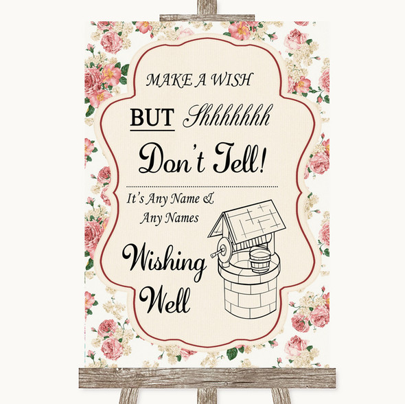 Vintage Roses Wishing Well Message Personalised Wedding Sign