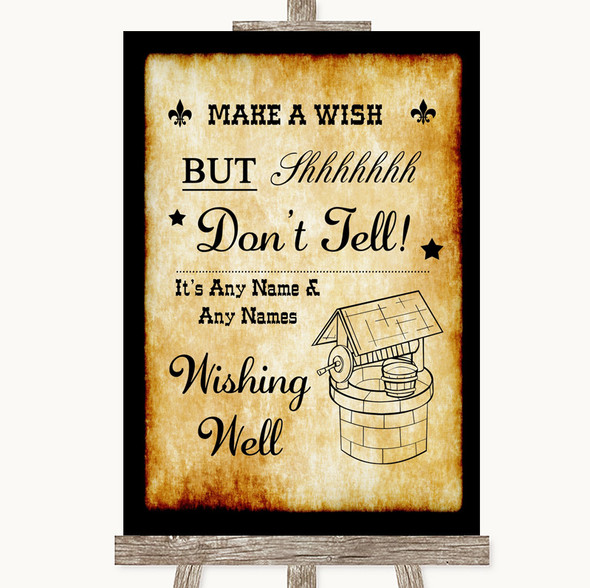 Western Wishing Well Message Personalised Wedding Sign