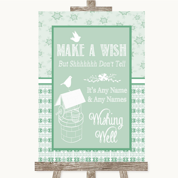 Winter Green Wishing Well Message Personalised Wedding Sign