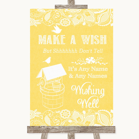 Yellow Burlap & Lace Wishing Well Message Personalised Wedding Sign