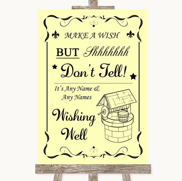 Yellow Wishing Well Message Personalised Wedding Sign