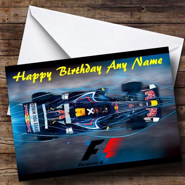 Redbull Car Personalised Birthday Card