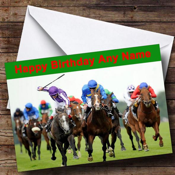 Horse Racing Personalised Birthday Card