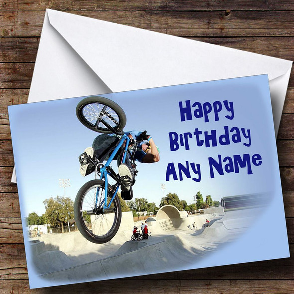 Blue Bmx Personalised Birthday Card