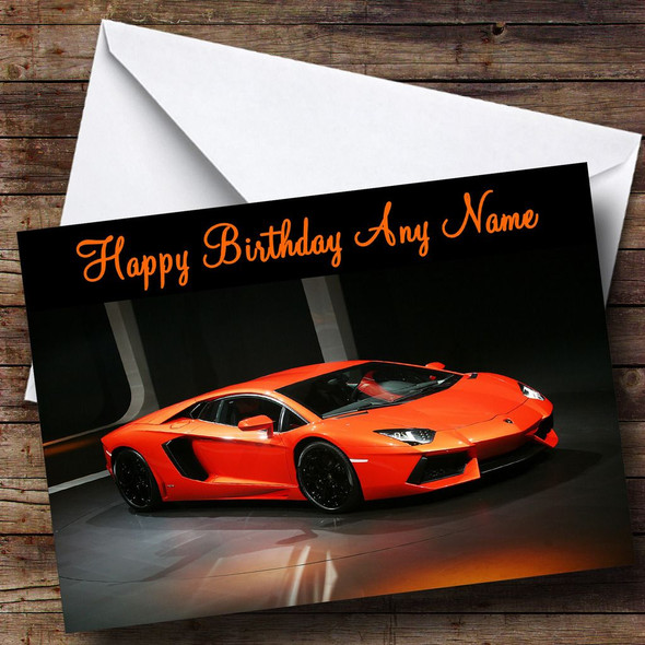 Orange Lamborghini Avantador Personalised Birthday Card