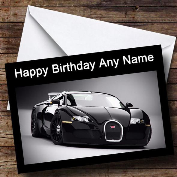 Black Bugatti Car Personalised Birthday Card
