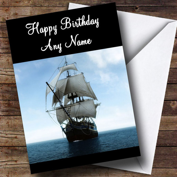 Ship Sailing Personalised Birthday Card