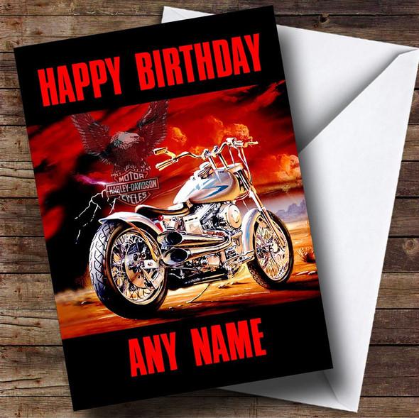 Harley Davidson Motorcycle Personalised Birthday Card