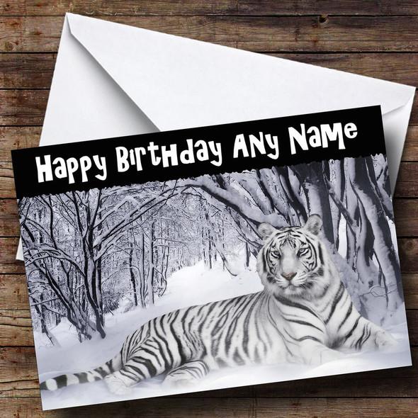 Stunning White Tiger Personalised Birthday Card