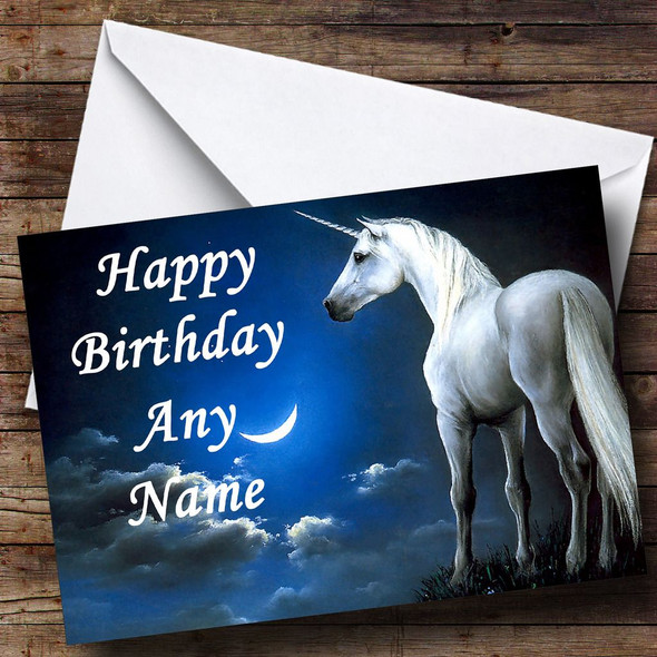 Unicorn & Moon Personalised Birthday Card
