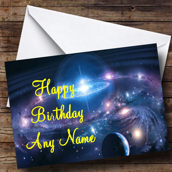 Planets & Stars Personalised Birthday Card