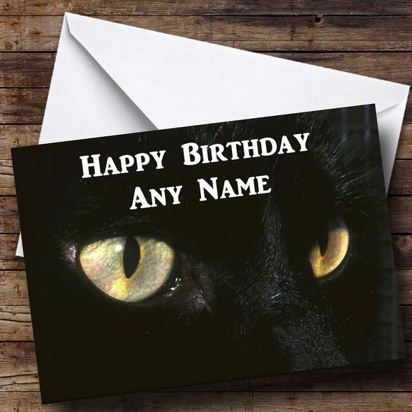 Black Cats Eyes Personalised Birthday Card