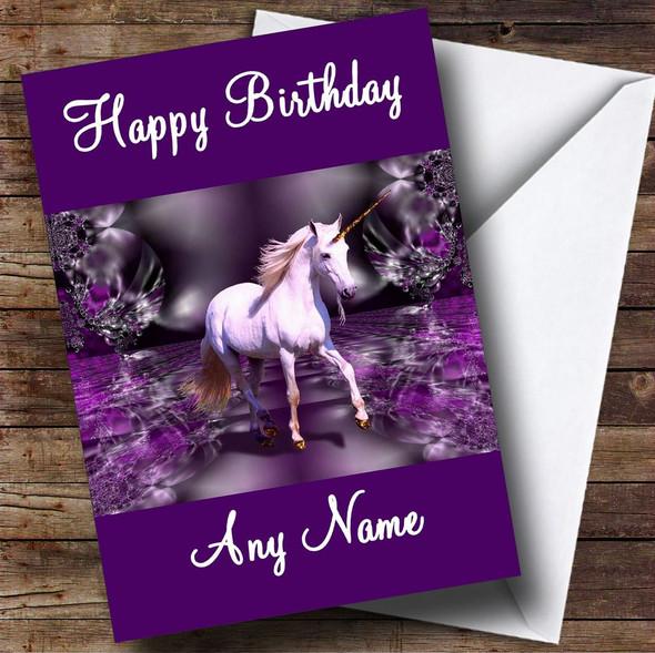 Purple Unicorn Personalised Birthday Card