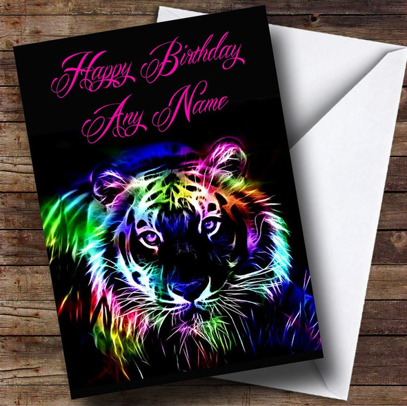 Colourful Tiger Personalised Birthday Card