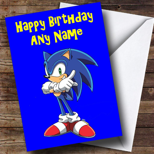 Sonic The Hedgehog Blue Personalised Birthday Card