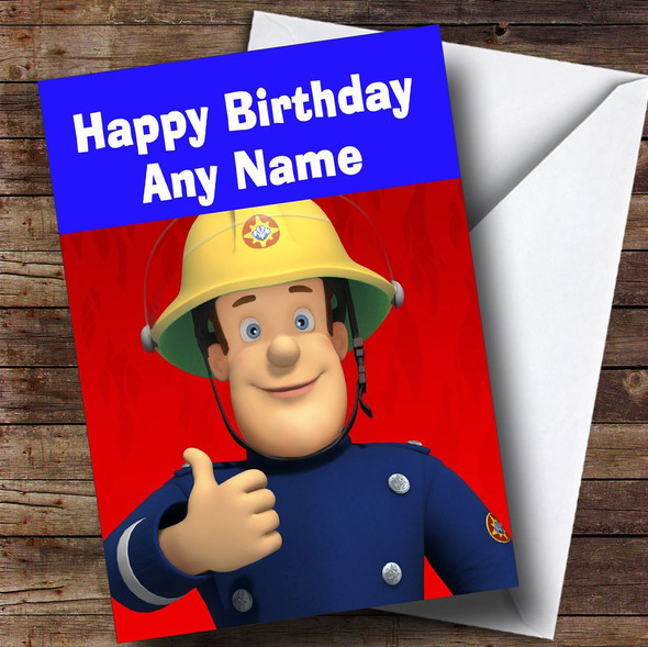 Fireman Sam Red And Blue  Personalised Children's Birthday Card