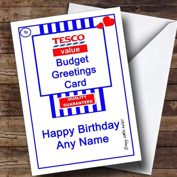 Funny Joke Tesco Value Spoof Personalised Birthday Card