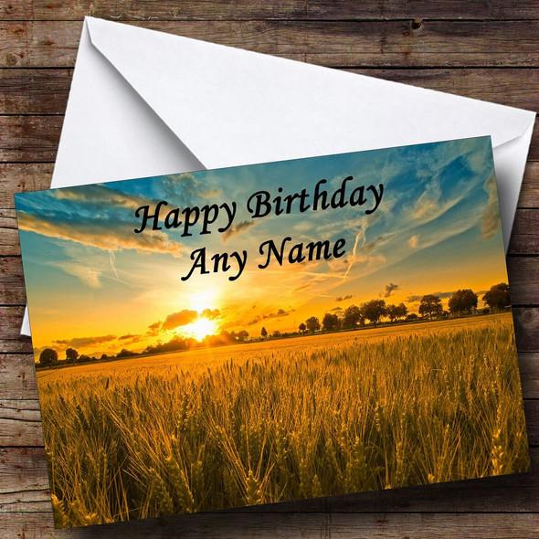 Sunset Over Cornfield Personalised Birthday Card
