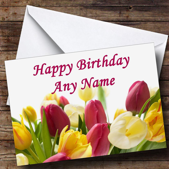 Tulip Flowers Personalised Birthday Card