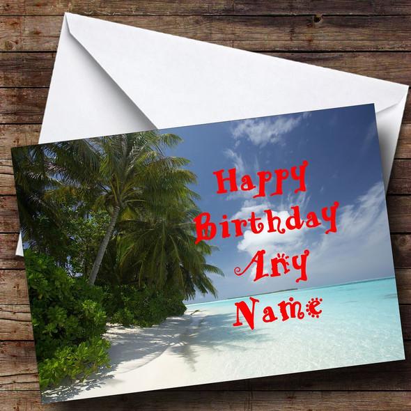 Sunny Beach Personalised Birthday Card
