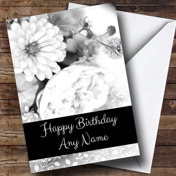 Black & White Vintage Roses Personalised Birthday Card