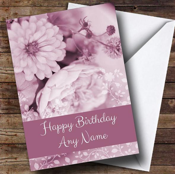 Purple Tones Roses Personalised Birthday Card