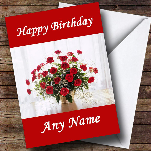 Red Roses Display Personalised Birthday Card