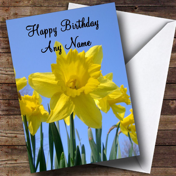 Daffodils And Sky Personalised Birthday Card