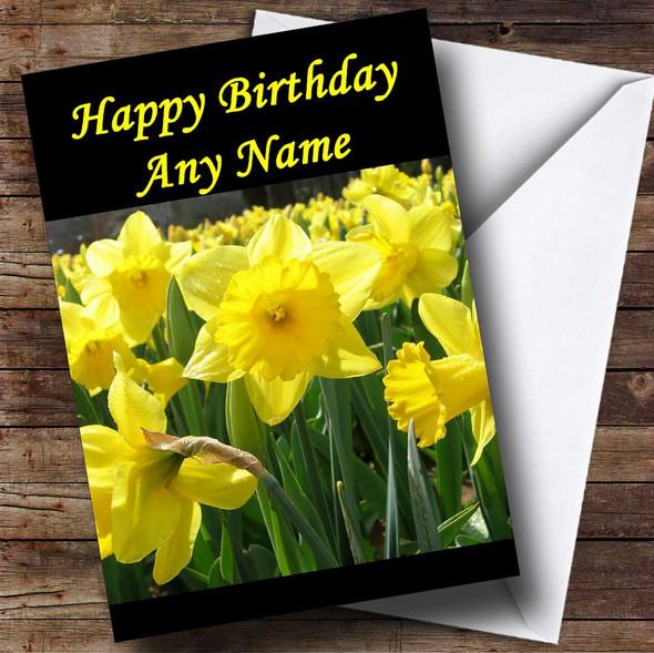 Daffodil Flowers Personalised Birthday Card