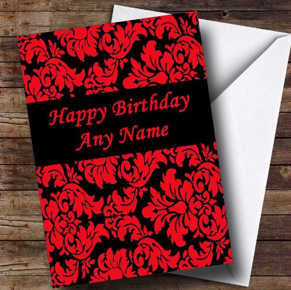 Floral Black Red Damask Personalised Birthday Card