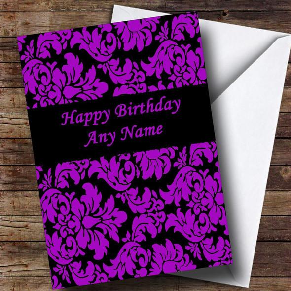 Floral Black Purple Damask Personalised Birthday Card
