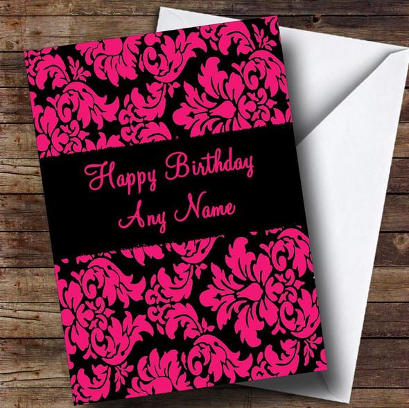 Floral Black Pink Damask Personalised Birthday Card