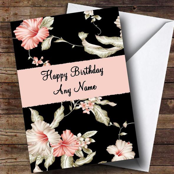 Stunning Black Vintage Floral Personalised Birthday Card