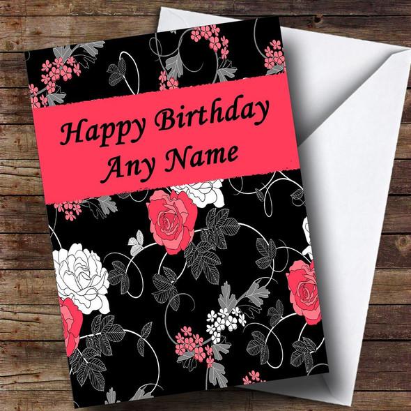 Pretty Black Vintage Floral Personalised Birthday Card