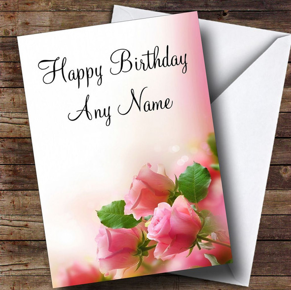 Beautiful Soft Pink Pastel Roses Personalised Birthday Card