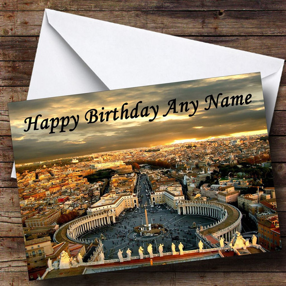 Rome St Peter's Square Italy Personalised Birthday Card