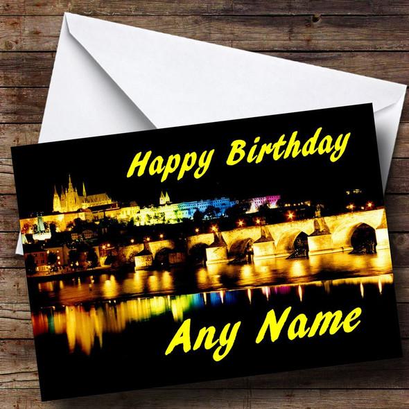 Prague At Night Personalised Birthday Card