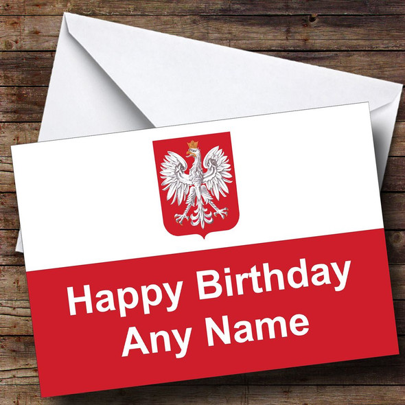 Polish Flag Poland Personalised Birthday Card