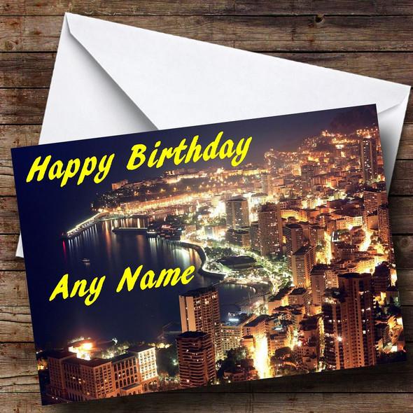 Monaco At Night Personalised Birthday Card