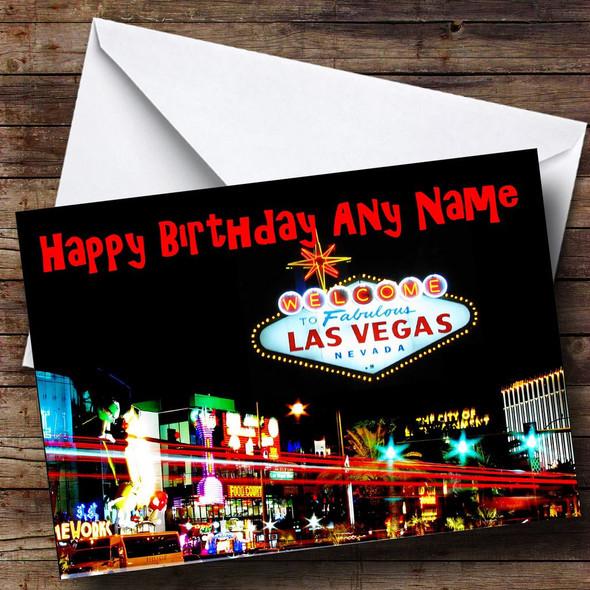 Las Vegas America Personalised Birthday Card
