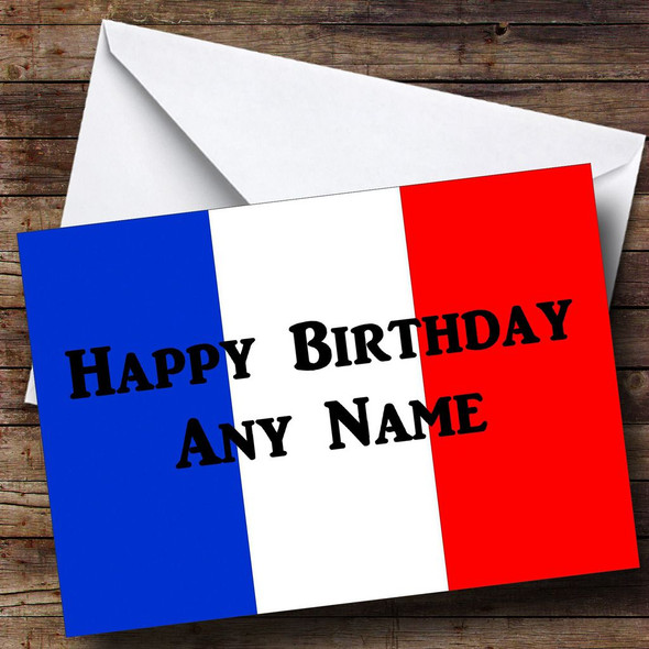French Flag France Personalised Birthday Card