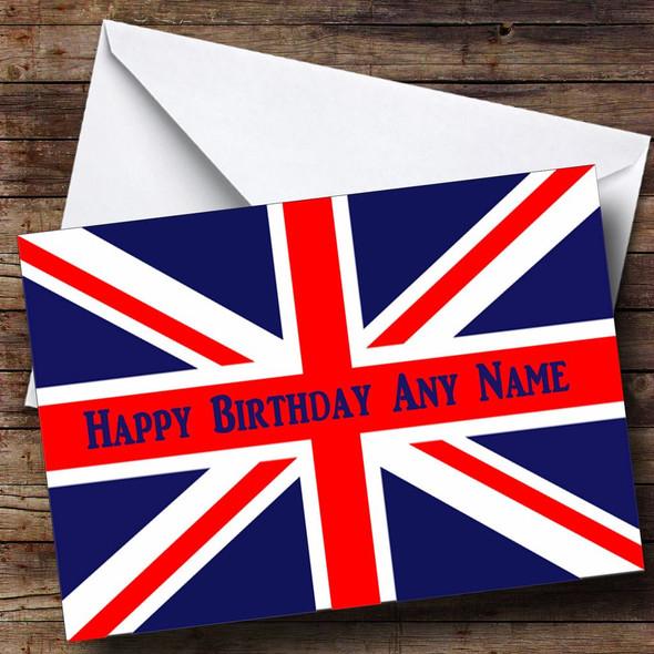 British Flag Union Jack Personalised Birthday Card