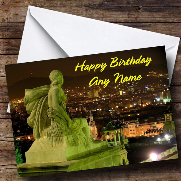Barcelona Spain Personalised Birthday Card