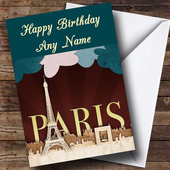 Paris France Eiffel Tower Personalised Birthday Card